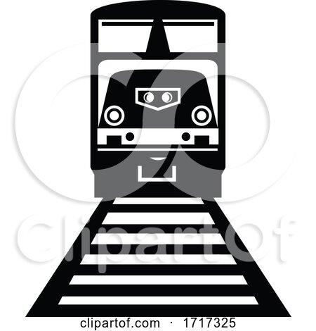 Diesel Locomotive Train Front View Retro Black and White by patrimonio