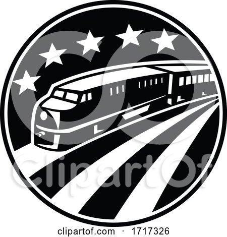 Diesel Locomotive Train with American USA Flag Stars Stripes Retro Black and White by patrimonio