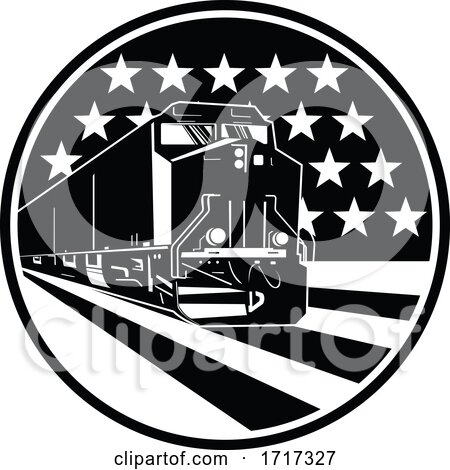 American Diesel Locomotive Train Front View with USA Stars and Stripes Flag Retro by patrimonio