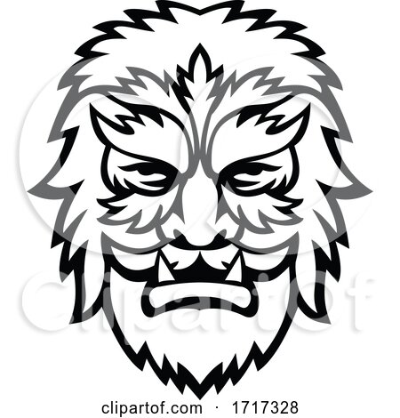 Circus Wolfman or Wolfboy Head Mascot Black and White by patrimonio