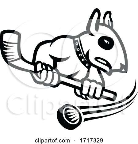 Bull Terrier with Ice Hockey Stick Mascot Black and White by patrimonio