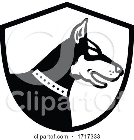 Doberman Pinscher Dog Head Side View Crest Retro Black and White by patrimonio
