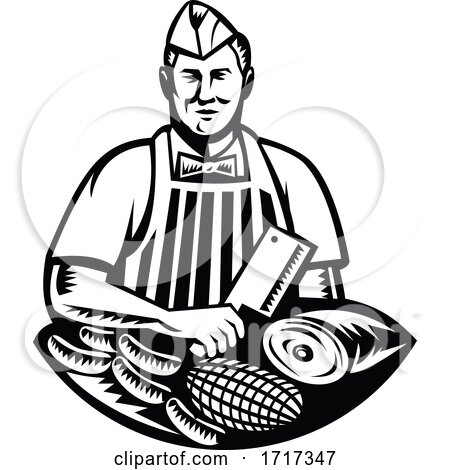 Butcher with Knife and Meat Cuts Retro Woodcut Black and White Posters, Art Prints