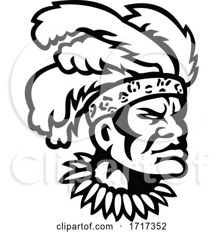 African Zulu Warrior Head Wearing Feather Headdress Mascot Black and White by patrimonio