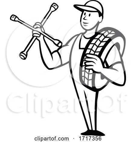 Tire Technician or Tyre Mechanic with Socket Wrench Standing Cartoon Black and White by patrimonio
