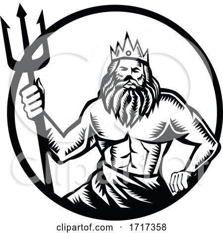 Poseidon Holding Trident Circle Woodcut Black and White Posters, Art Prints