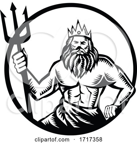 Poseidon Holding Trident Circle Woodcut Black and White by patrimonio