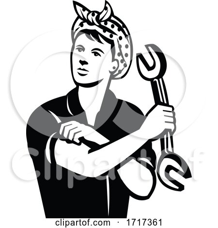 Female Automotive Mechanic with Wrench Flexing Muscle Retro Black and White by patrimonio