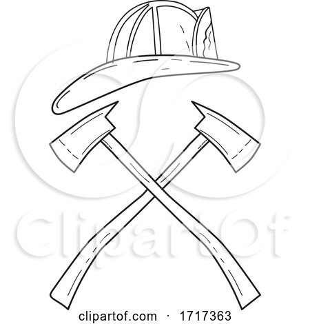 Fireman Helmet with Crossed Fire Axe Line Drawing Black and White by patrimonio