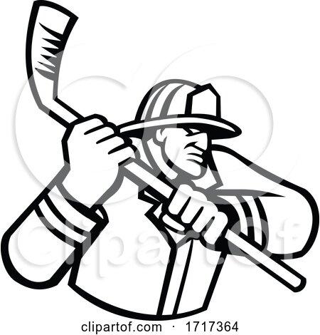 Fireman Playing Ice Hockey Sport Mascot Black and White by patrimonio
