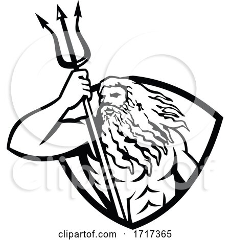 Neptune or Poseidon with Trident Looking to Side Shield Retro Black and White by patrimonio
