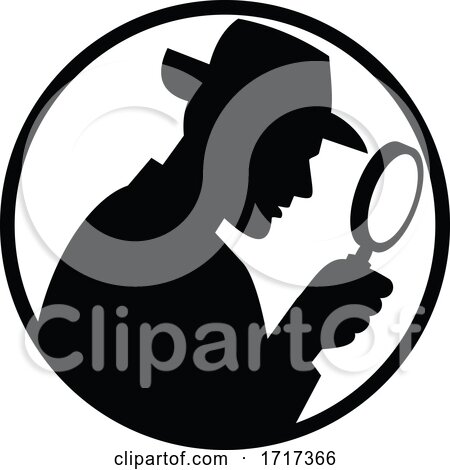 Detective with Magnifying Glass Silhouette Circle Black and White by patrimonio