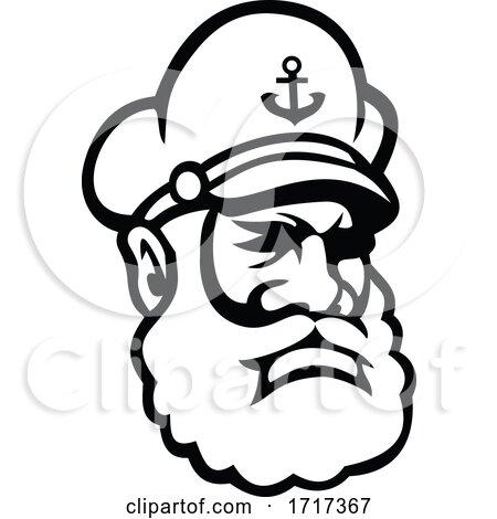 Sea Captain Old Sea Dog or Skipper Mascot Black and White by patrimonio