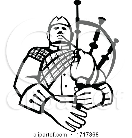 Scotsman Bagpiper Player Playing Bagpipes Front View Retro Black and White by patrimonio