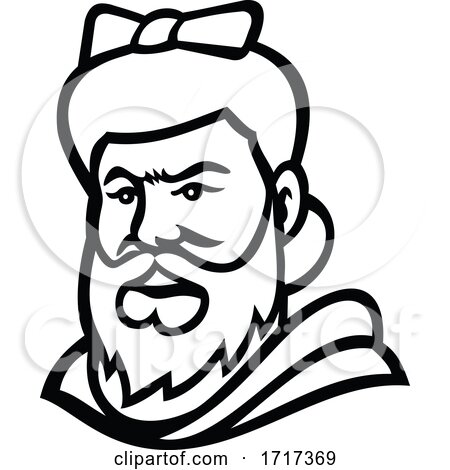 Head of a Bearded Lady Mascot Black and White by patrimonio