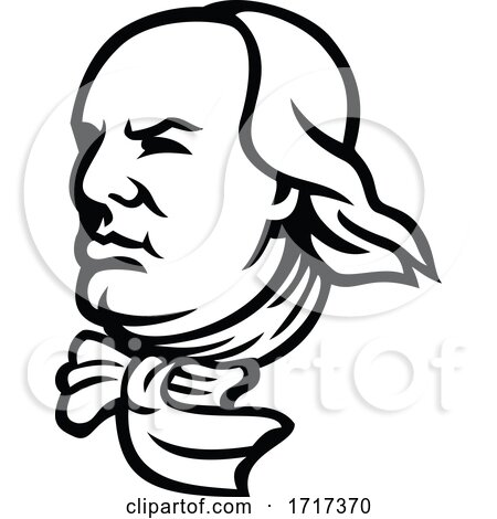 Head of Benjamin Franklin Mascot Black and White by patrimonio