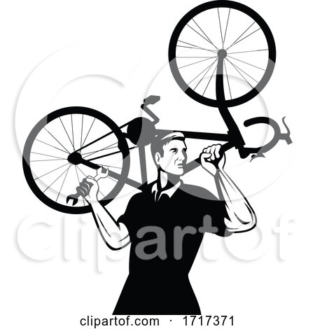 Bicycle Mechanic Carrying Bike on Shoulder and Holding Spanner Wrench Retro Black and White by patrimonio
