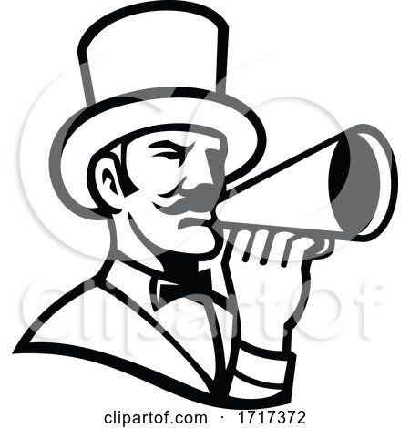 Circus Ringleader or Ringmaster with Bullhorn Mascot Black and White by patrimonio