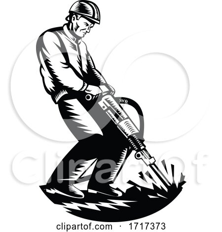 Construction Worker with Jack Hammer Pneumatic Drill Woodcut Retro Black and White by patrimonio
