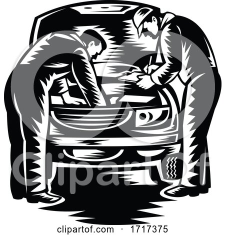 Automotive Mechanic Car Service and Repair Woodcut Black and White by patrimonio