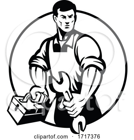 Automotive Mechanic Holding Spanner and Toolbox Circle Retro Black and White by patrimonio