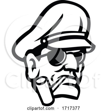Army General Head Smoking Pipe Sport Mascot Black and White by patrimonio