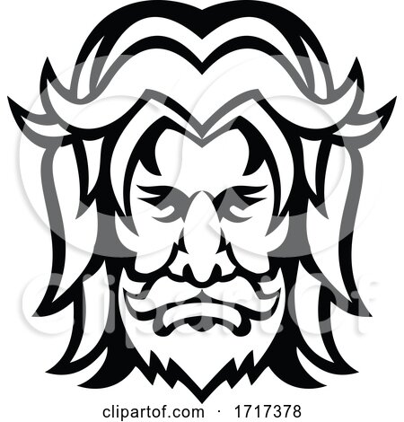 Baldr Balder or Baldur Norse God Front View Mascot Black and White by patrimonio
