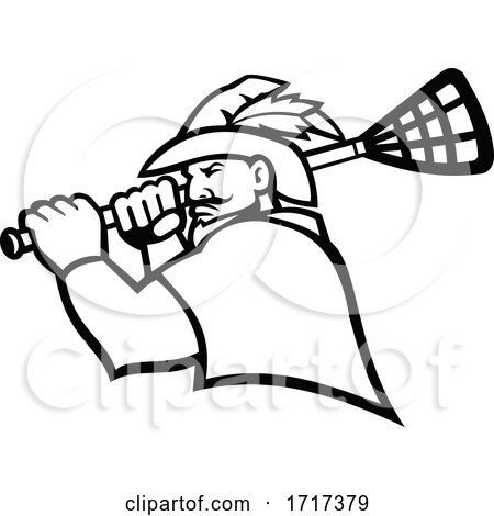 Robin Hood or Green Archer with Lacrosse Stick Sport Mascot Black and White by patrimonio