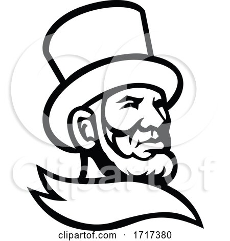 Abraham Lincoln Head Mascot Black and White by patrimonio