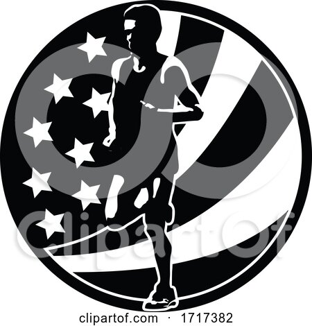 American Marathon Runner Running USA Flag Circle Retro Black and White by patrimonio