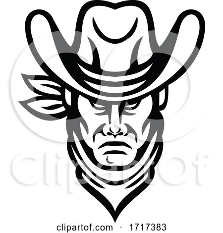 American Cowboy Head Sports Mascot Black and White by patrimonio