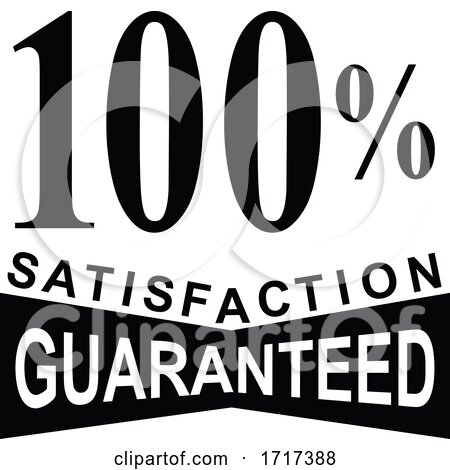 100 Percent Satisfaction Guaranteed Mark Sign Black and White by patrimonio