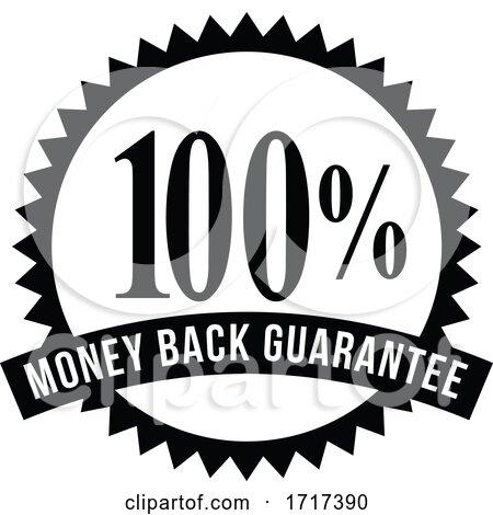 100 percent money back guarantee rosette ribbon reverse BW CUT by patrimonio