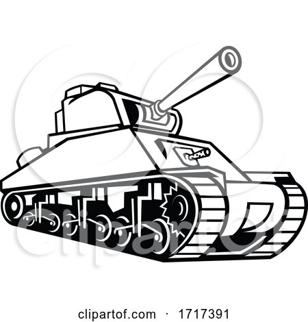 M4 Sherman Medium Tank Mascot Black and White by patrimonio