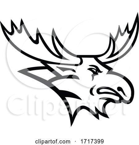 Bull Moose or Elk Head Mascot Black and White by