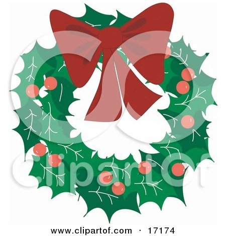Decorative Christmas Wreath Made Of Holly And Berries, Topped With A Red Bow Clipart Illustration by Maria Bell
