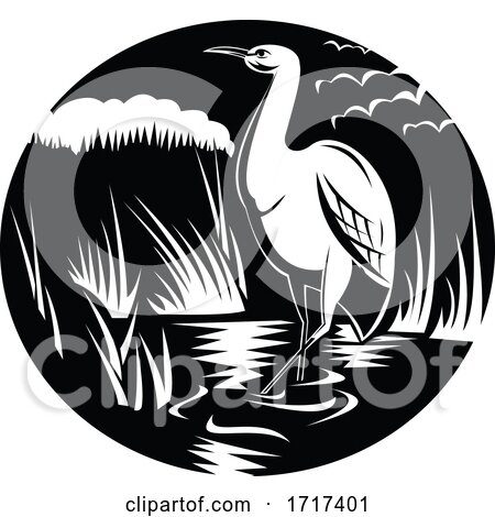 Egret or Heron in Marsh Circle Woodcut Black and White by patrimonio