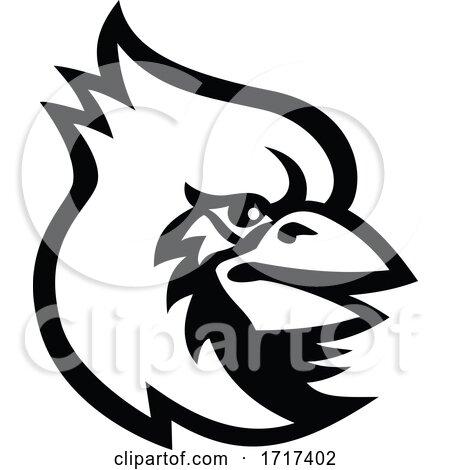 Cardinal Bird Head Mascot Black and White by patrimonio