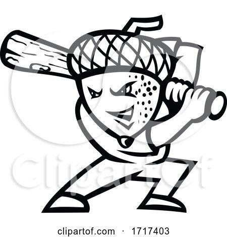 Acorn or Oak Nut Baseball Player Batting Mascot Black and White by patrimonio