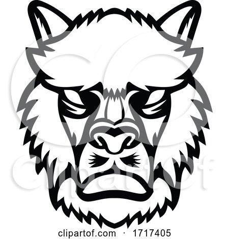 Angry Alpaca or Llama Head Mascot Black and White by patrimonio
