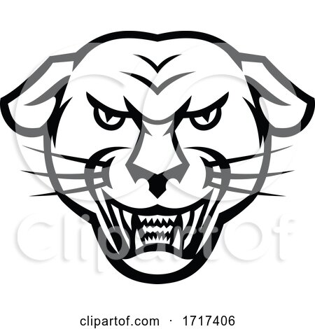 Angry Black Panther Head Baring Fangs Mascot Black and White by patrimonio