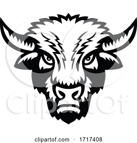 Black and White Demonic American Bison Mascot by