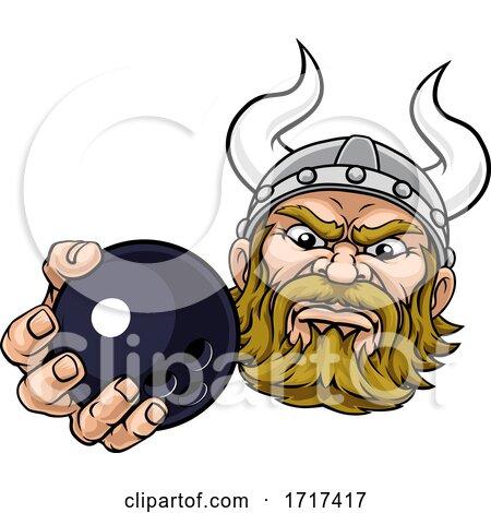 Viking Ten Pin Bowling Ball Sports Mascot Cartoon by AtStockIllustration