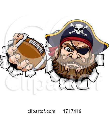 Pirate American Football Sports Mascot Cartoon by AtStockIllustration