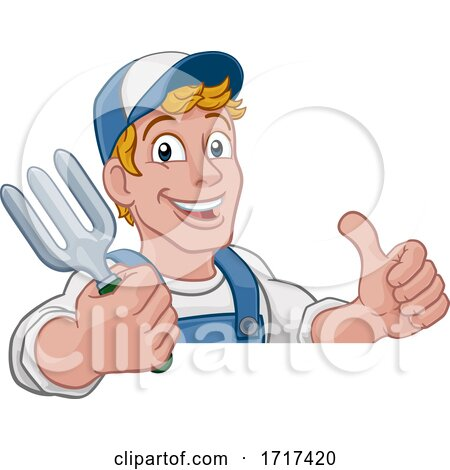 Gardener Garden Fork Tool Handyman Cartoon Man by AtStockIllustration
