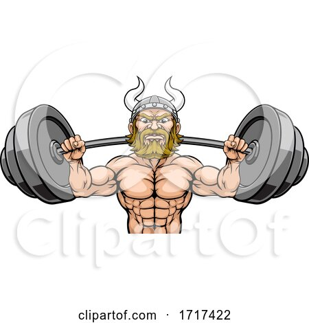 Viking Weight Lifting Mascot Muscle Gym Cartoon by AtStockIllustration