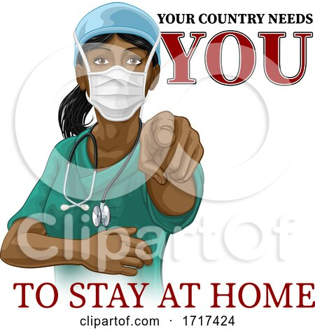 Doctor Nurse Woman Needs You Stay at Home Pointing by AtStockIllustration