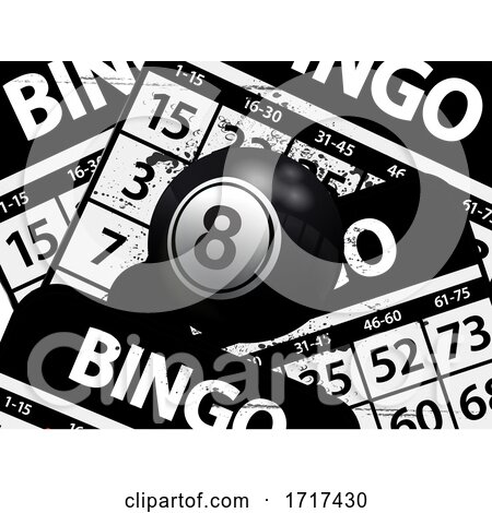 Number 8 Black Bingo Ball over Black Bungo Cards by elaineitalia