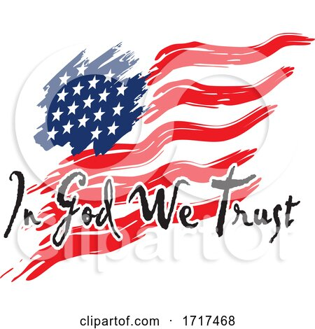 American Flag with in God We Trust Text by Johnny Sajem