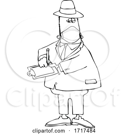 Cartoon Black and White Male Inspector Wearing a Mask by